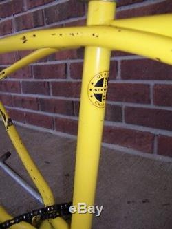 Vintage 1973 Yellow Schwinn Junior Stingray Bicycle Bike Frame & Chain