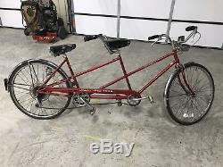 Vintage Beautiful Red Schwinn Twinn Tandem Bicycle Red Bike Chicago