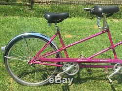 Vintage Beautiful Violet Schwinn Twinn Tandem Bicycle Pink Purple Bike