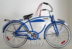 Vintage Bicycle Antique Classic 1950s Bike Cycle Blue Trim Metal Midget Model