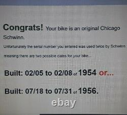 Vintage Chicago Schwinn Corvette bicycle 26 red 3 speed 1954 or 56 s#L07076