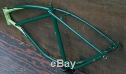Vintage Green Schwinn Panther Bicycle FRAME StraightBar Hornet Tank Cruiser Bike