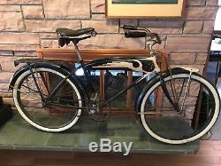 Vintage Prewar 1939 Schwinn DX Autocycle B6 Men's Balloon Tire Tank Rack Bicycle