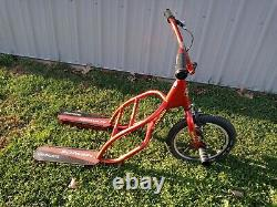Vintage Rare Schwinn Gladiator Fs 2-foot 3-wheel Scooter Bike No Rear Wheels Red