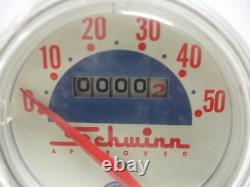 Vintage Schwinn Approved White Face 50 mph Speedometer Nice Condition