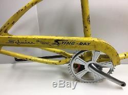 Vintage Schwinn Deluxe Stingray Boys Frame Fork Chainguard Crankset Yellow