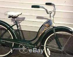Vintage Schwinn Meteor D-62 Cruiser Womens 26 Balloon Tire Tank Bike 1953 Green
