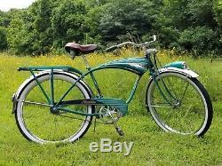 Vintage Schwinn Phantom Bicycle 1955 or 1957 Green Fully Restored Cruiser
