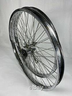 Vintage Schwinn S2 Chrome Wheel Set 26 X 2.125 Balloon Single Coaster Brake Nice