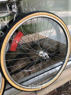 Vintage Schwinn S6 26 1 3/8 Rear Bicycle Chrome Wheel Rim Set Tires Reflector