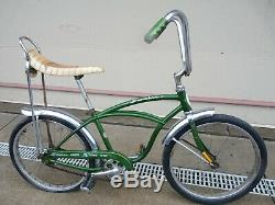 Vintage Schwinn Stingray Junior Bicycle Green Bike Banana Seat Ape Hanger Bars