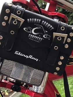Vintage Schwinn Stingray ORANGE COUNTY CHOPPERS bike Collectible With Saddle Bag