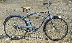 Vintage Schwinn bicycle Rare 1954 Tiger 3spd good og dark blue paint