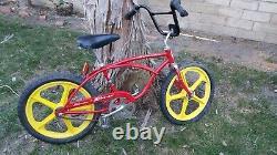 Vintage The Original Schwinn Stingray opaque red 1974 bmx style skyway mag wheel