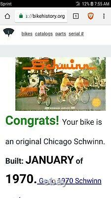 Vintage and Collectible 1970 20 Schwinn Sting Ray Fastback Bicycle #AF30105
