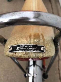 Vintage schwinn stingray orange krate 1968 bike 5 speed