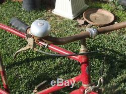 Vtg 1940s Red SCHWINN Bicycle New World 2 Speed with Bell & Book Holder Original