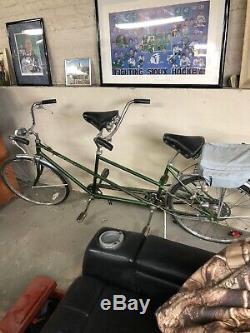 Vtg Schwinn DeLuxe Twinn Tandem bicycle Chicago GREEN 5-speed original bike 1970